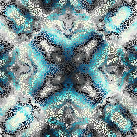 turquiose: Seamless background pattern. Irregular decorative geometric mosaic art tile pattern from uneven broken pieces. Turquiose colors mosaic.