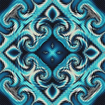 masonry: Seamless background pattern. Round decorative geometric mosaic art tile pattern.