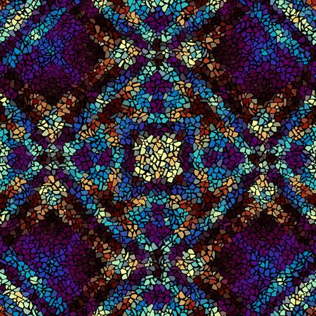 Seamless background pattern. Irregular decorative geometric mosaic art tile pattern from uneven broken pieces on black background.