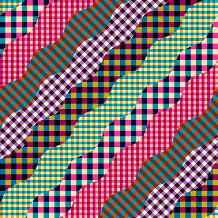 Seamless background pattern. Imitation of a patchwork pattern. Wavy diagonal shapes. Illustration