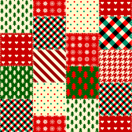Seamless Christmas background in patchwork style. Vectores