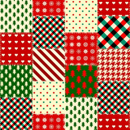 Seamless Christmas background in patchwork style. Ilustração