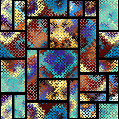 Seamless background. Geometric abstract pattern with a rough canvas texture.