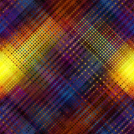 Seamless background. Geometric abstract symmetric pattern in low poly pixel art style. Polka dot pattern on low poly background.