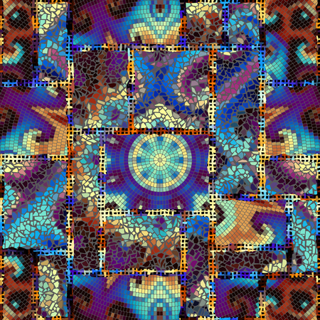 Seamless background pattern. Irregular decorative geometric mosaic art tile pattern from uneven broken pieces. Collage of mosaics. 矢量图像