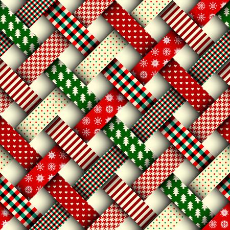 Naadloze Kerstmisachtergrond in lapwerkstijl. Verweving linten met kerst patronen op rode achtergrond.