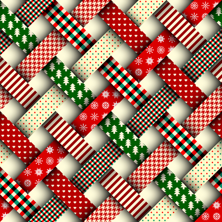 Seamless Christmas background in patchwork style. Interweaving ribbons with Christmas patterns on red background. Imagens - 88854460
