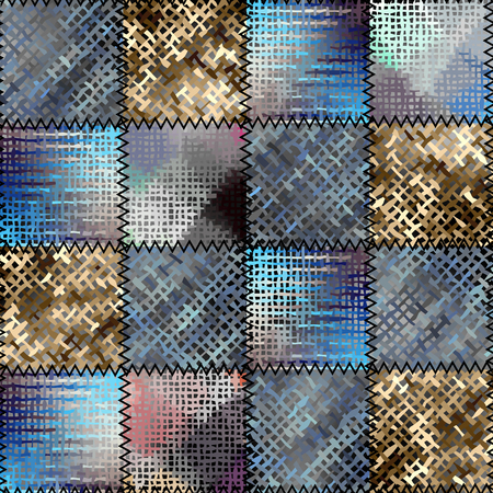 Seamless background pattern. Imitation of a patchwork pattern of rough canvas patches.