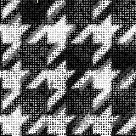Seamless background pattern. Imitation of a texture of rough canvas painted with hounds-tooth pattern.