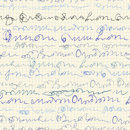 Seamless background pattern. Imitation of a abstract vintage lettering on copybook surface. Unreadable text.