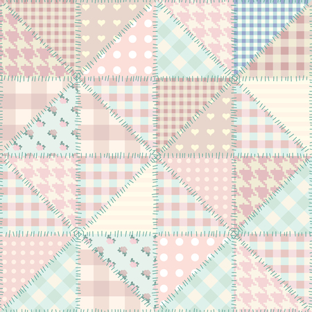 Seamless background pattern. Imitation of a retro patchwork. Patchwork of triangles.