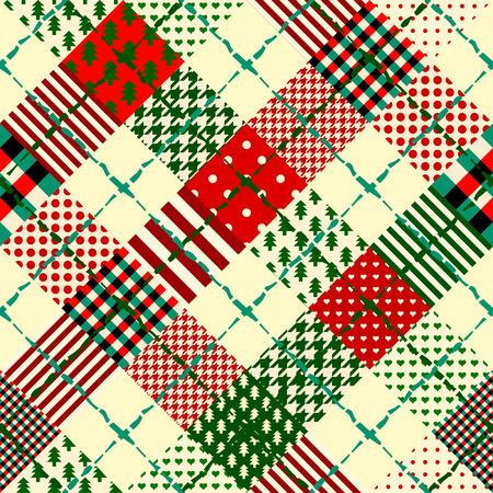 パッチワークのスタイルでシームレスなクリスマスの背景。クリスマス柄のリボンを織りなす。
