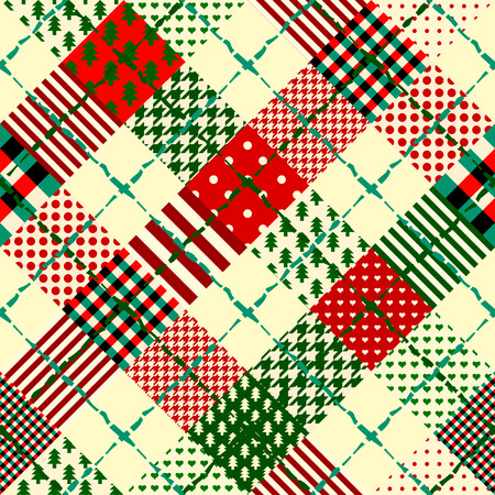 Seamless Christmas background in patchwork style. Interweaving ribbons with Christmas patterns.