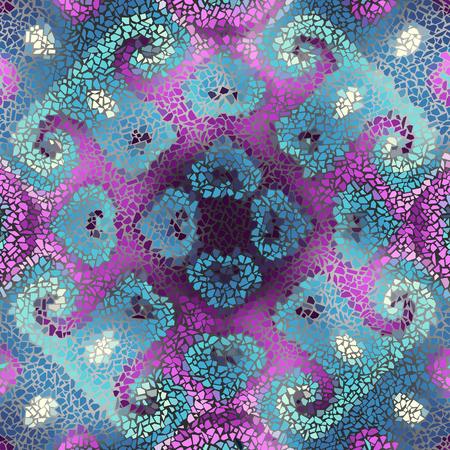 Irregular decorative geometric mosaic art tile seamless pattern from uneven broken pieces.