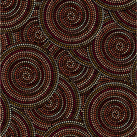 Irregular polka dots seamless pattern in african style on black background. Tribal art print. Illustration