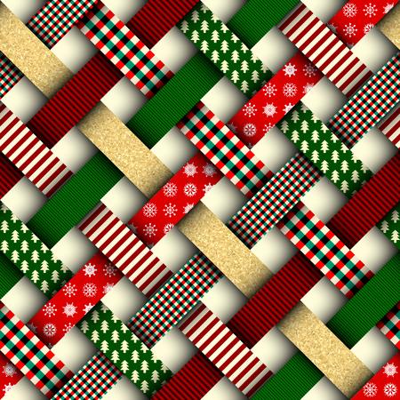 Bezszwowe tło Boże Narodzenie w stylu patchworku. Przeplatać faborki z boże narodzenie wzorami na czerwonym tle.