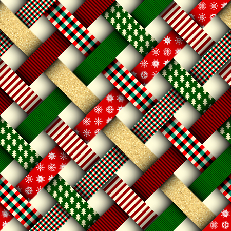 Seamless Christmas background in patchwork style. Interweaving ribbons with Christmas patterns on red background. Zdjęcie Seryjne - 89529164