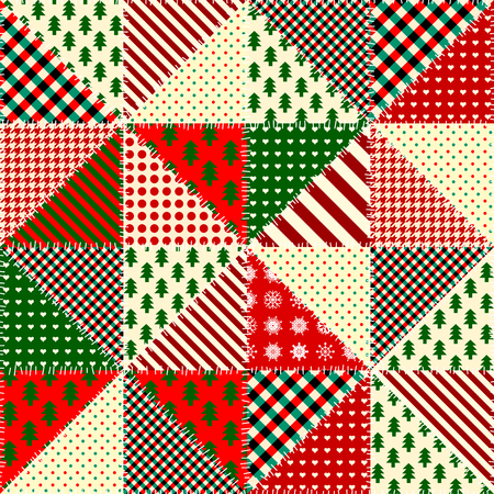 Seamless background pattern. Imitation of a retro patchwork. Triangles patches.
