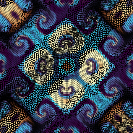 Ornate seamless texture background. Waves of ornamental mosaic tile patterns.