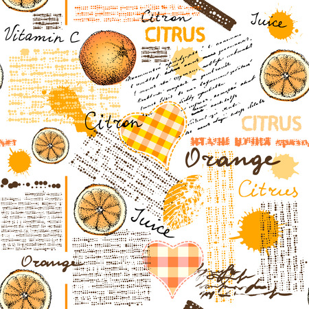 Seamless background pattern. Imitation of halftone newspaper with citrus and oranges.