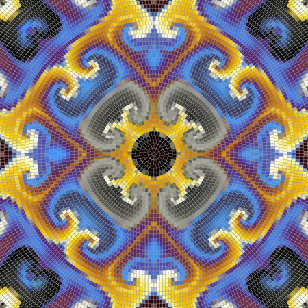 splinter: Seamless background pattern. Round decorative geometric mosaic art tile pattern Illustration
