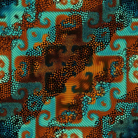 splinter: Ornate seamless texture background. Waves of ornamental mosaic tile patterns.