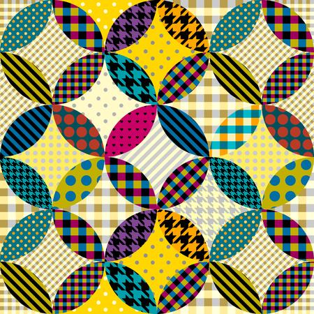 シームレスな背景パターン。円の幾何学的パッチワークパターン。