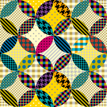 Seamless background pattern. Geometric patchwork pattern of circles.