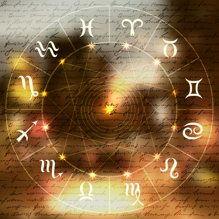 Magic circle with zodiacs sign on smooth blurred background. Illustration