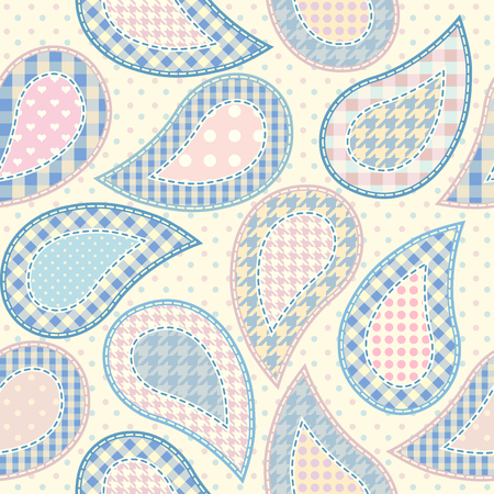 Paisley pattern in patchwork style, seamless background. Pastel colors patchwork on polka dot background.