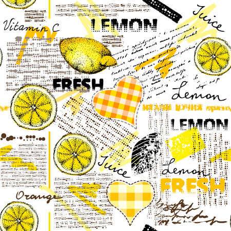 Seamless background pattern Imitation of halftone newspaper with citrus and lemons