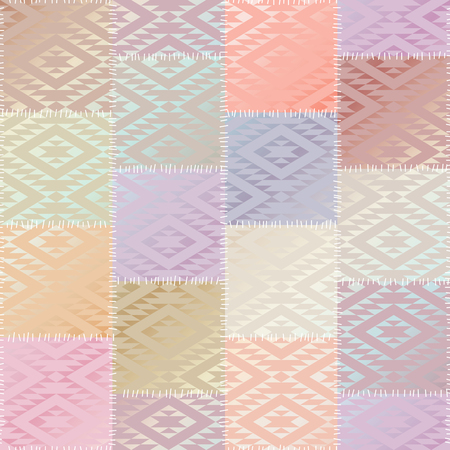 Geometric patchwork pattern of squares.