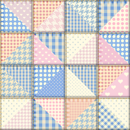 Patchwork pattern of triangles.