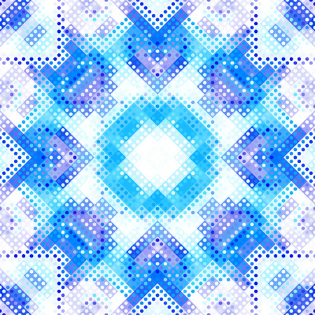 Seamless background. Geometric abstract symmetric pattern in low poly pixel art style. Stylish image of a snowflake on white background. Illustration