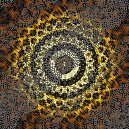 Ornate seamless texture background. Waves of mosaic tile patterns. Exotic ethnic pattern. Illustration