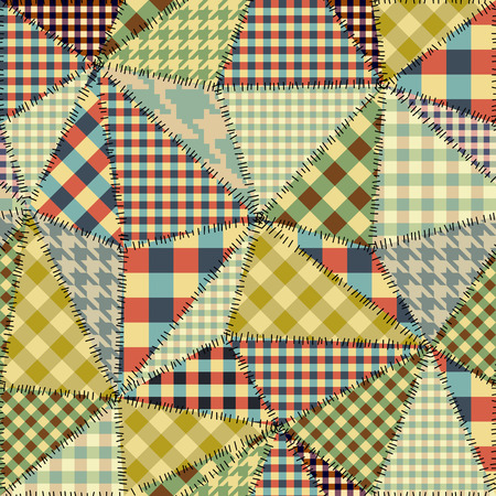 Seamless background pattern. Imitation of a retro patchwork. Irregular triangles of fabric patches. Banco de Imagens - 91323382