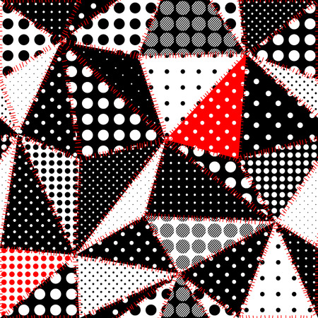 Seamless background pattern. Imitation of a retro patchwork. Irregular triangles of fabric patches.