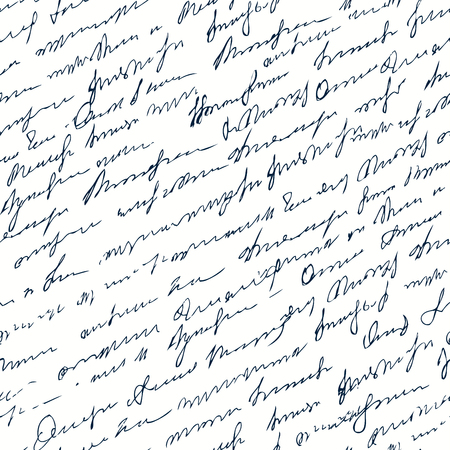 Seamless background pattern. Imitation of a Incline abstract vintage lettering on white surface. Unreadable text.