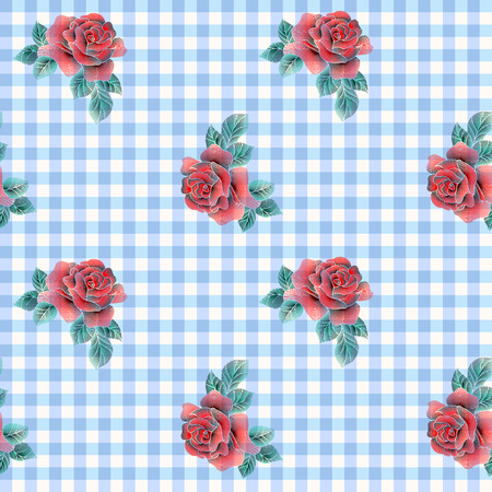 Seamless background. Embroidery roses on light blue fashion pattern. Illustration