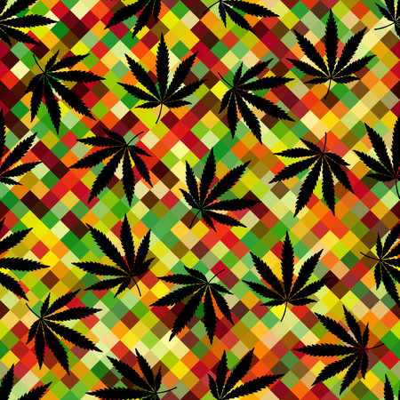 Seamless background pattern. Geometric abstract background and hemp leaves.