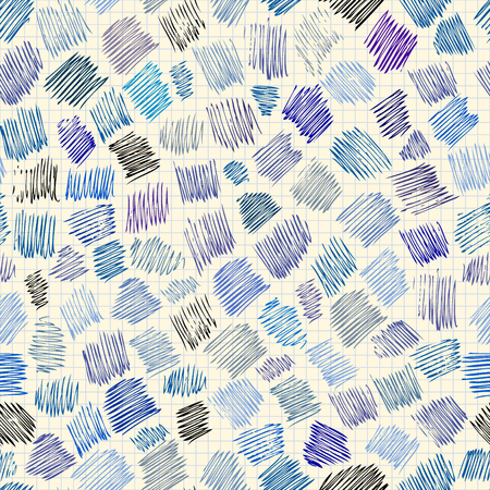Seamless background pattern. Abstract doodlas pattern on copy-book surface.