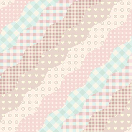 Naadloos patroon als achtergrond. Imitatie van een lappendekenpatroon. Golvende diagonale vormen.