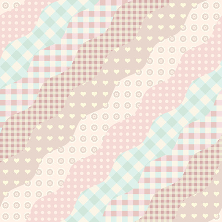 Seamless background pattern. Imitation of a patchwork pattern. Wavy diagonal shapes. Çizim