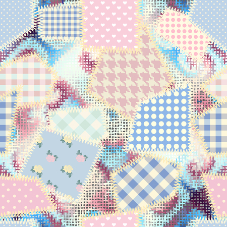 Seamless background pattern. Imitation of a retro patchwork pattern on a rough canvas fabric texture.