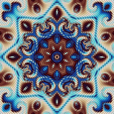 Round decorative geometric mosaic art tile pattern.