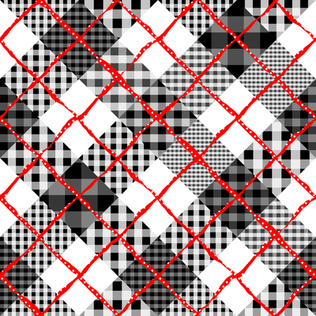 Seamless background pattern. Diagonal plaid tartan pattern of a patchwork pattern.