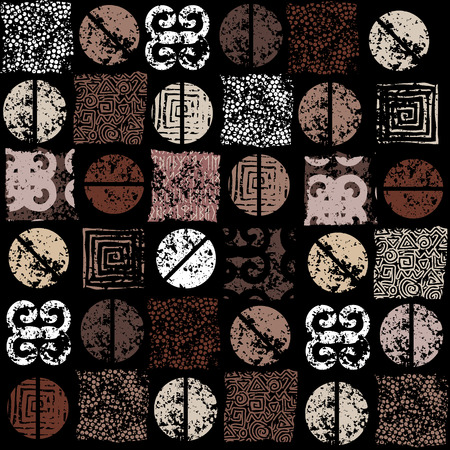 Coffee. Seamless ethnic grunge coffee pattern on black background. Vettoriali