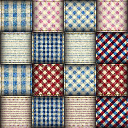Plaid patchwork background. Seamless vector background. Imitation of a plaid ribbons.