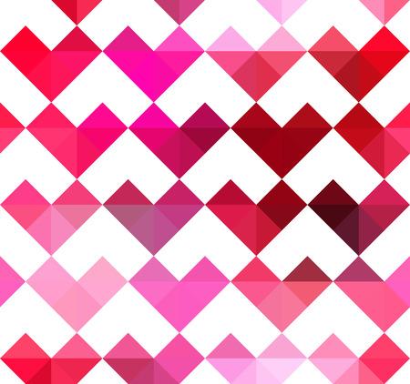 Hearts pattern in a pixel polygonal style. Ilustração