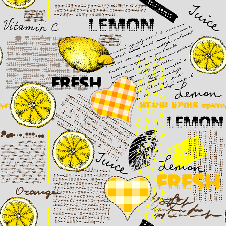 Seamless background pattern. Imitation of halftone newspaper with citrus and lemons. Ilustração